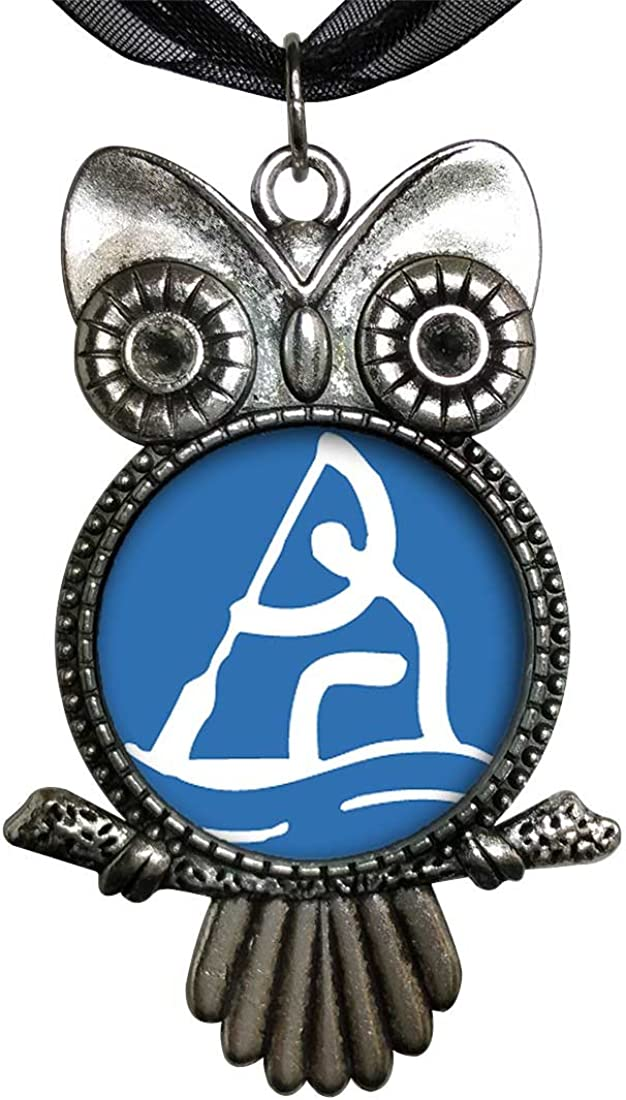 GiftJewelryShop Ancient Style Silver Plate Olympics Rowing Owl Charm Pendant Necklace