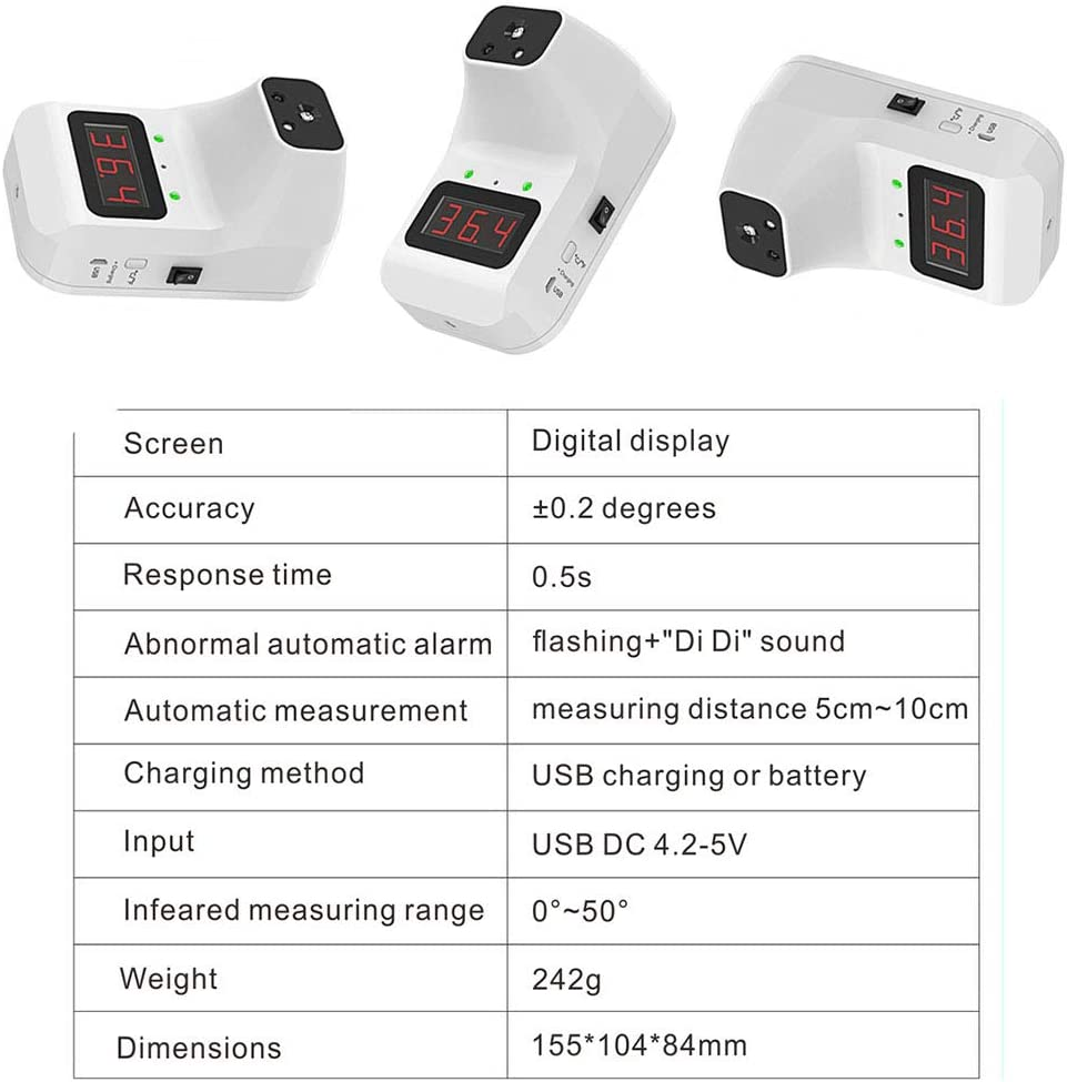 Non-Contact Thermometer with Fever Alarm 0.5S Instantaneous Reading /°C and /ºF Conversion Used in Company Factory Store ILYO Infrared Digital Thermometer