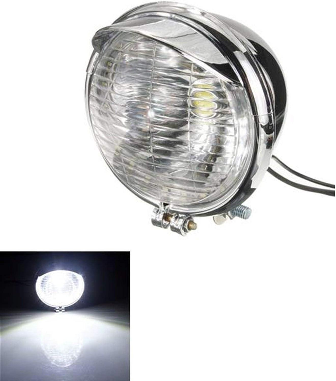 Waan Exquisite Verarbeitung Motorrad-Lichter Color : Silver 12V Universalmotorrad 25 LEDs Scheinwerfer-Scheinwerfer-Chrom-Kasten Motorrad-Zubeh/ör