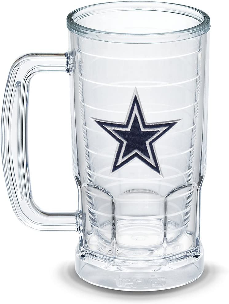 Tervis NFL Dallas Cowboys Primary Logo Insulated Tumbler with Emblem, 16 oz Beer Mug, Clear