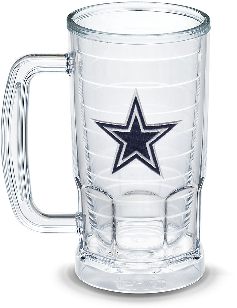 Tervis 1303309 NFL Dallas Cowboys Primary Logo Insulated Tumbler with Emblem, 16 oz Beer Mug, Clear