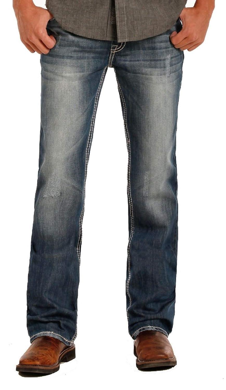 38x34 Rock /& Roll Denim Mens Double Barrel Relaxed Fit Medium Wash Jean