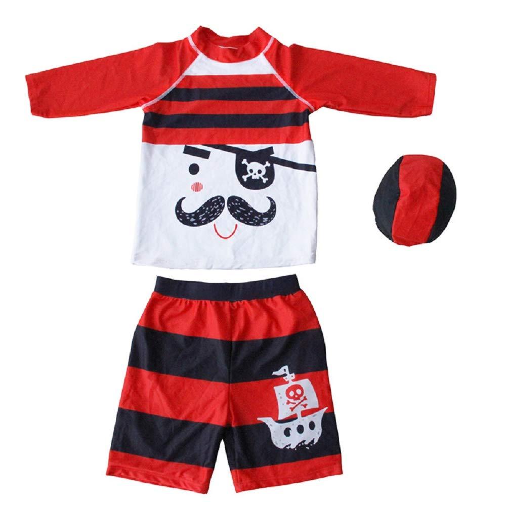 Yunqir Kids Wetsuit 3 Pcs/Set Children's Split Swimsuits Kids Pirate Stripe Sunscreen Wetsuit for Water Sports(Red)