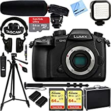 Panasonic LUMIX GH5 20.3MP 4K Mirrorless Digital Camera with WiFi (Body) w/ Tascam DSLR Audio Recorder and Shotgun Microphone + 128GB & 64GB Pro Video Bundle