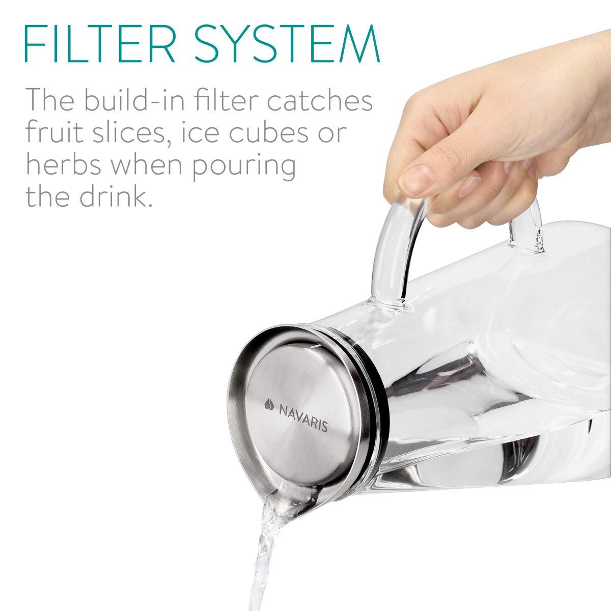 Decantador con Tapa para Todo Tipo de Bebidas Navaris Jarra de Cristal de 1.6L para Agua Botella de Vidrio con Filtro de Aluminio