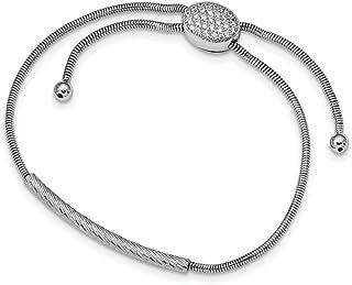 Argent sterling poli et texturé Oxyde de Zirconium Bracelet réglable