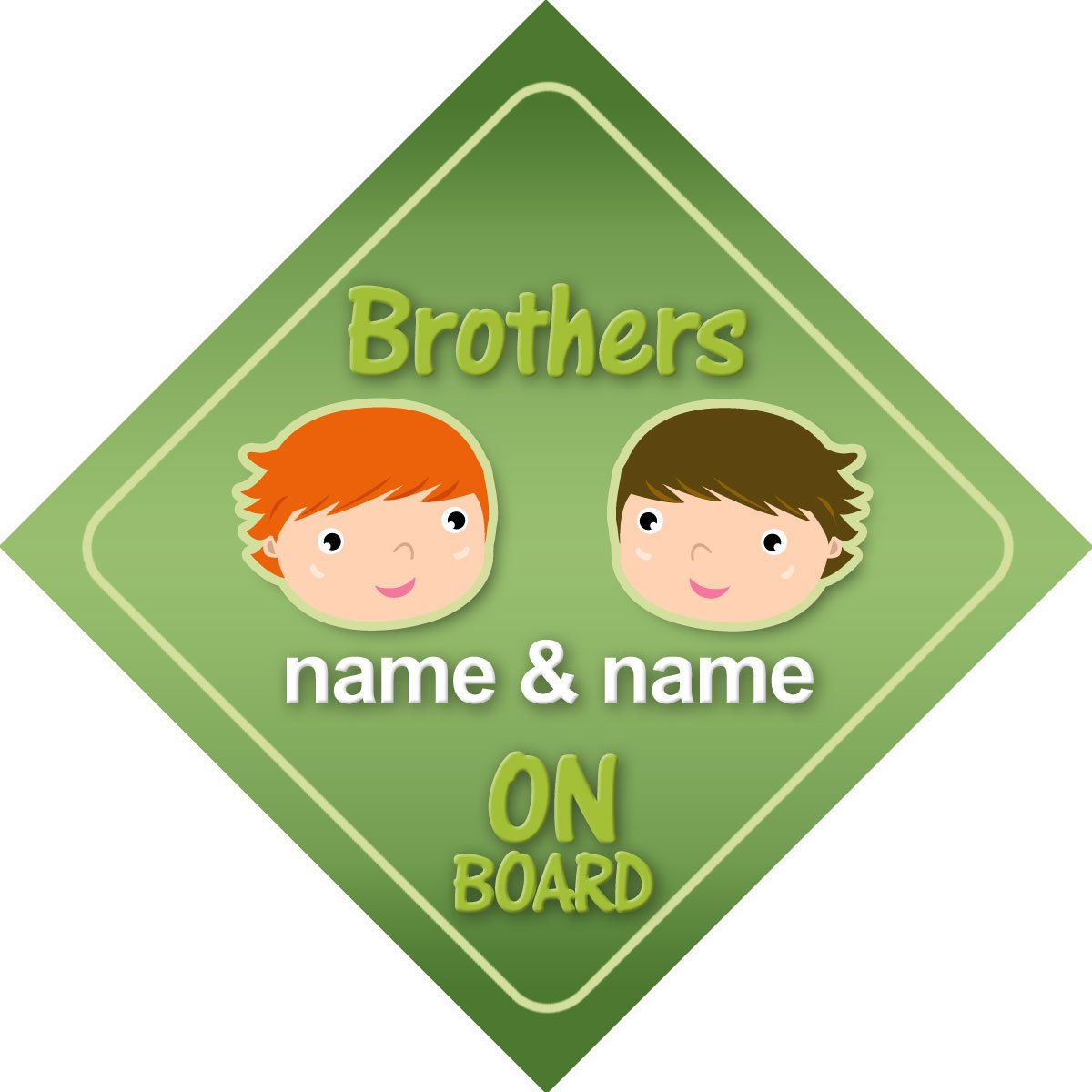 Brothers On Board Personalised Car Sign New Baby Boy / Child Gift / Present