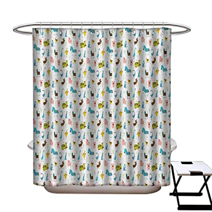 Cartoon Shower Curtains 3D Digital Printing Farm Animals Pattern With Pig Rooster Cow Horse And Sheep