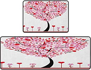 """Kitchen Rug Mats, Heart Shaped Tree Daisies Wildflowers Red Leaves Forest Romance Love Season Image, 17""""x48"""" + 17""""x24"""" Ergonomic Comfort Foam Rug for Kitchen, Multicolor"""