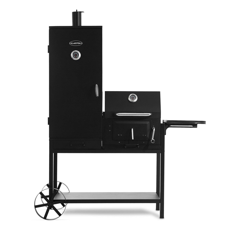 Klarstein Fleischbrocken Barbacoa de carbón con Ahumador (combinación Parrilla y Horno ahumador, Carro con diseño rústico, Material Acero) - Negro