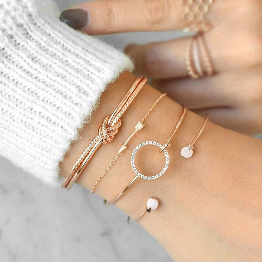 4 Sets Simple Female Personality Knotted Ring Circle Set Bracelet