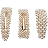 Messen Artificial Pearls Hair Clips Large Hair Barrettes Decorative for Wedding Birthday Gifts Bling Hair Pins Barrettes Geometric Bobby Pin Accessories for Women Ladies Girls
