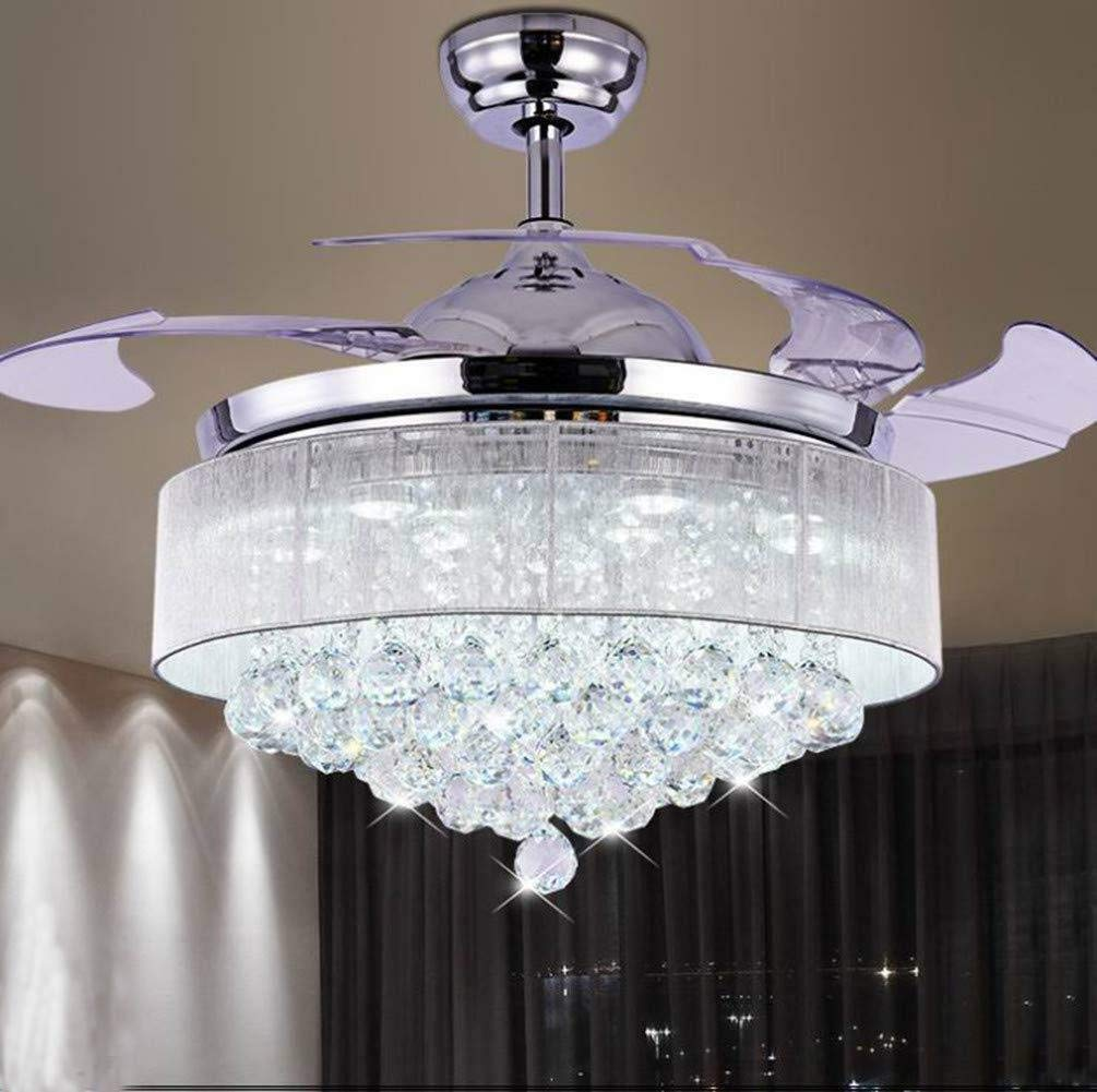 Vhouse 42-inch Modern Chrome Crystal Fan Chandelier with Remote Control Telescopic Ceiling Fan Light Chandelier Lighting (42 inches)