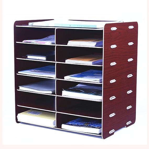 Nuevo Estilo A5 Estante para Documentos Tamaño 35 * 25.2 * 36.1cm 12 Rejillas Archivador de Madera, gabinete de Almacenamiento de Recibos, Carpetas, ...