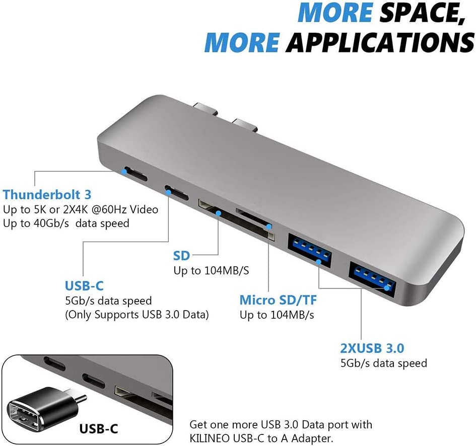 MacBook Pro Adapter with Type-C Pass-Through Charging 40Gbs Thunderbolt 3 ZYLFN USB C Hub SD//TF Card Reader and 2 USB 3.0 for MacBook Pro 13//15//17