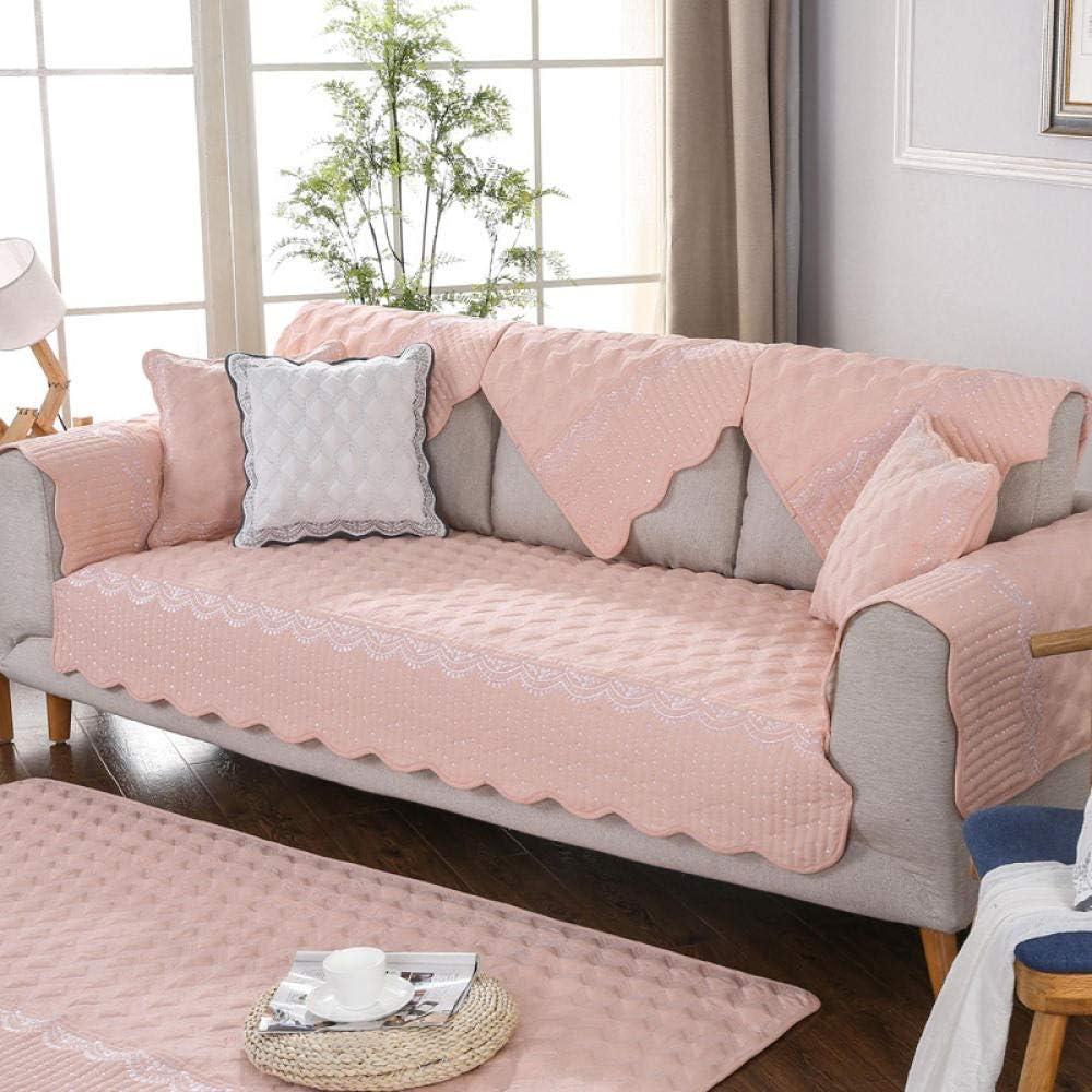 YUTJK Protector de Muebles,Cojines de sofá Bordados en Relieve,Toallas de algodón Antideslizantes para el Respaldo,Cojines para sillas,Alfombrillas para alfombras: Rosa_110 * 240 cm