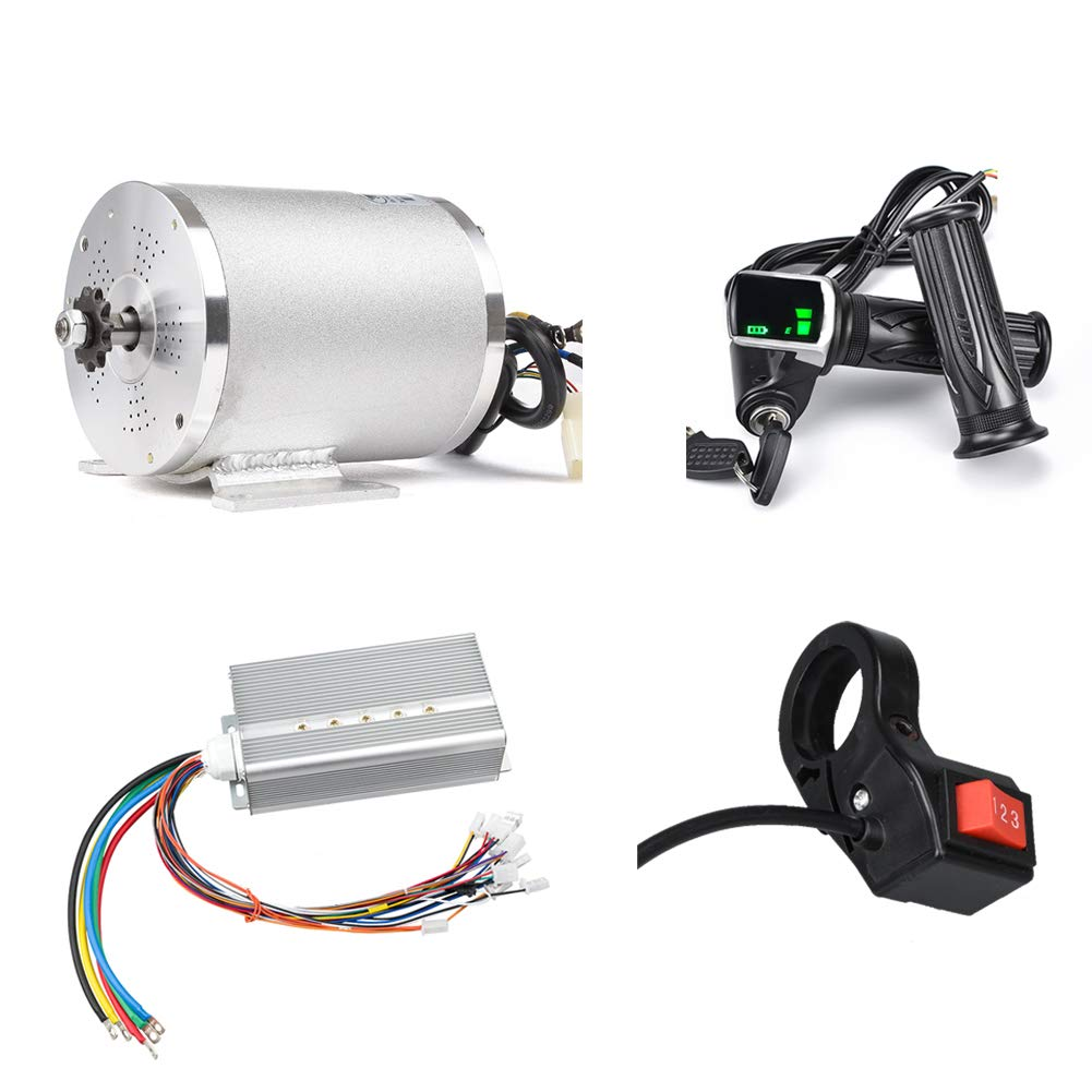 Electric Scooter Motor 48V 2000W Mid Drive Motor DC Brushless Controller 45A with LCD Throttle Grip 3-speed Switch for Go Kart ATV Electric Bicycle Conversion Kit (48V 2000W 45A motor kit)