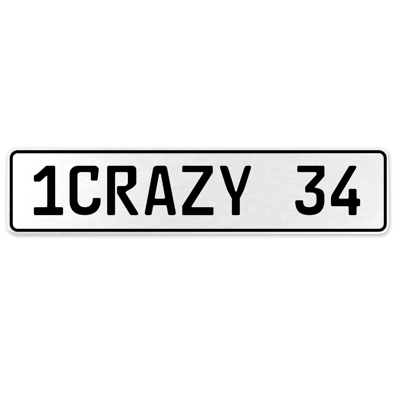Vintage Parts 555720 1CRAZY 34 White Stamped Aluminum European License Plate