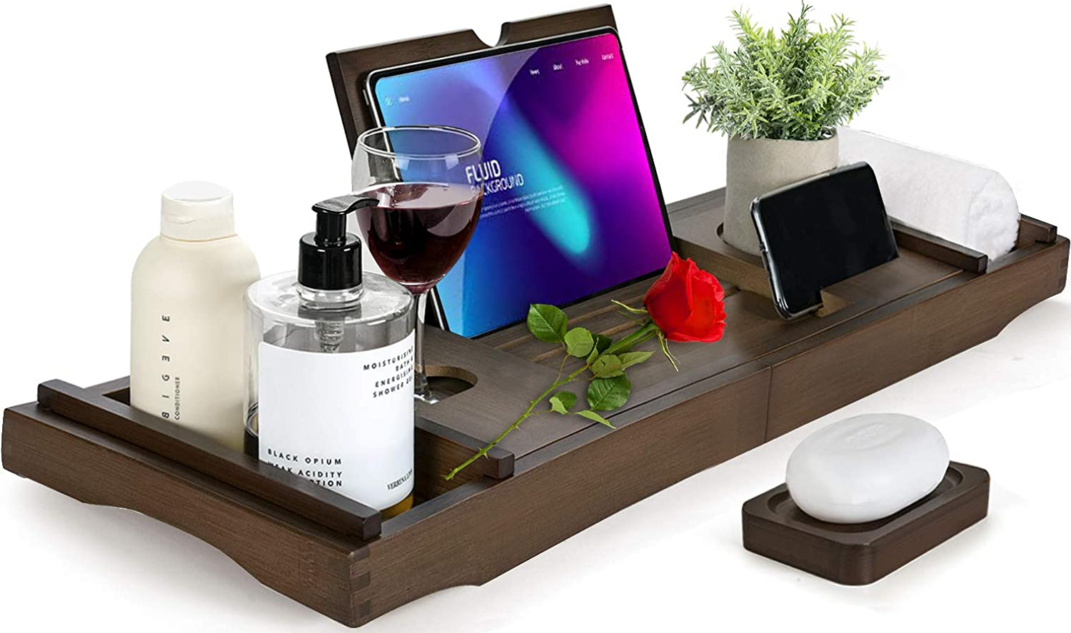HBlife Bamboo Bathtub Caddy Tray [Durable, Non-Slip], One or Two Person Bath and Bed Tray, Extending Sides Fits Any Tub, Cellphone iPad and Wineglass Holder, Free Soap Holder (Coffee Color)