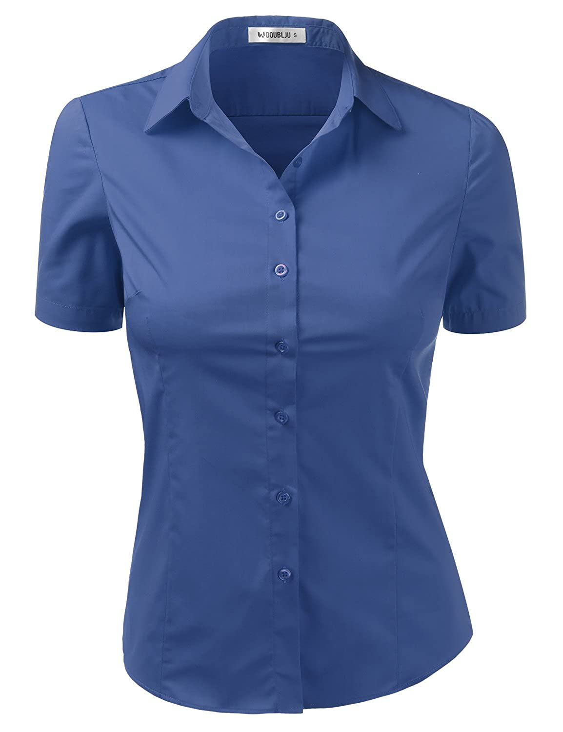 Cwtsts010_royalbluee Doublju Womens Basic Simple Short Sleeve Button Down Shirt With Plus Size