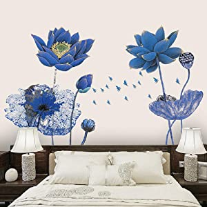 Amaonm Creative Gaint Cartoon Blue Lotus Wall Stickers Removable DIY Flowers Nursery Decor Wall Decals 3d Floral Peel and Stick art for Home Walls Girls Bedroom Living Room Classroom Bathroom (Flower)