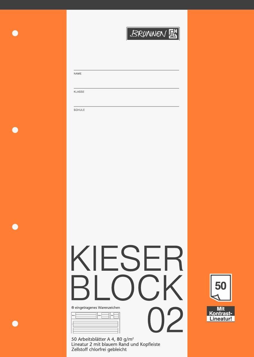 Brunnen KIESER-Block A4, 50 Blatt, 4-Fach Gelocht, 80 g/m²: Amazon ...