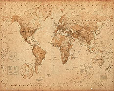 Vintage Old Style World Map Large Poster Art Print Gift A0 A1 A2 A3 A4 Maxi