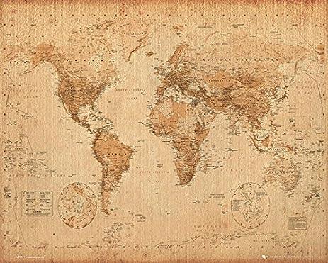 antique mini amazoncom world map antique mini poster 20 x 16in prints