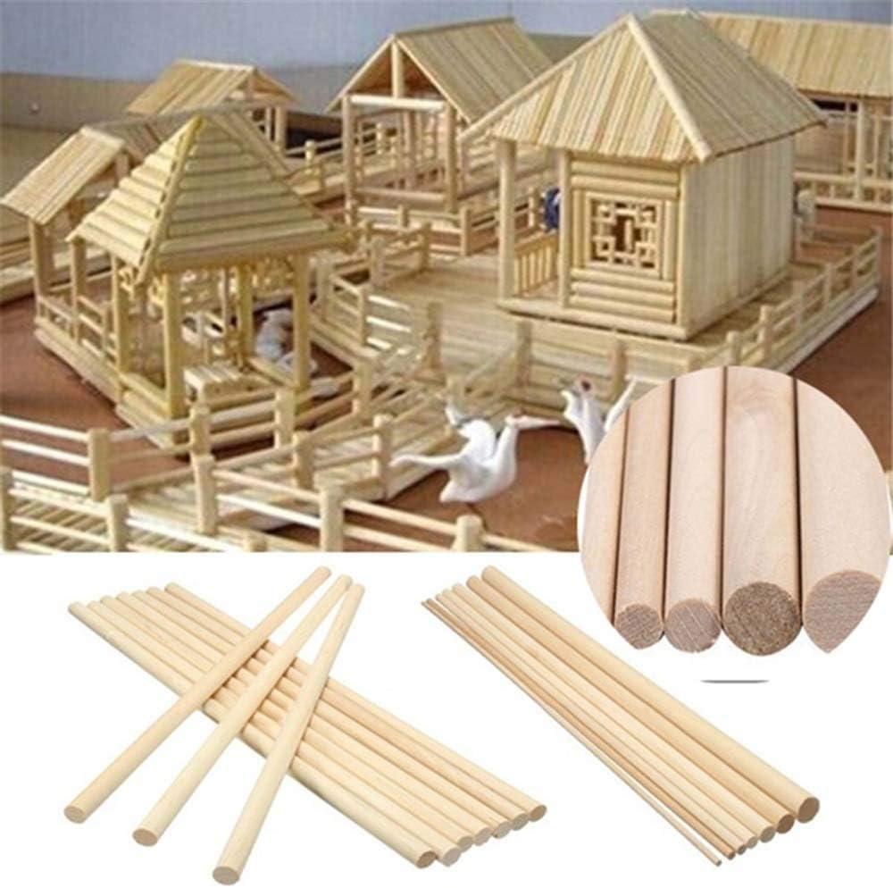 Palos artesanales para Manualidades y Trabajos de Arte Palos de Madera Turbobm 50 Piezas de Varillas de Madera Redondas Modelo de construcci/ón Palos de conteo Juguetes educativos