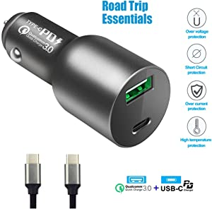 USB C PD Car Charger Dual Port High-Speed Safe Adapter with 60W Power Delivery for MacBook Pro/Air,Surface,Dell,iPad, iPhone,Galaxy and Compatible Ultrabook Laptop Notebook, 24W QC3 for Android