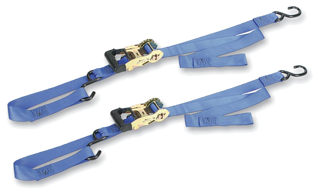 Ancra 49970-112 Blue Gradual Release Big Bike Ratcheting Integra Tie Down - Pair