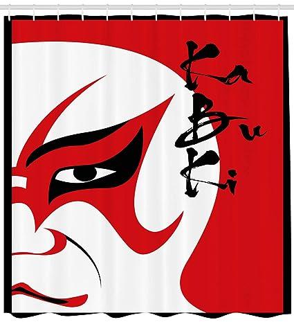 Kabuki máscara decoración cortina de ducha por Ambesonne, drama de ...