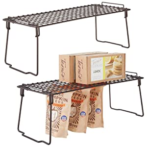 """mDesign Metal Stackable Storage Shelf - 2 Tier Raised Food and Kitchen Organizer for Cabinets, Pantry Shelves, Countertops, Closet, 2 Pack, 7"""" x 17.3"""" x 6.5"""" - Bronze"""