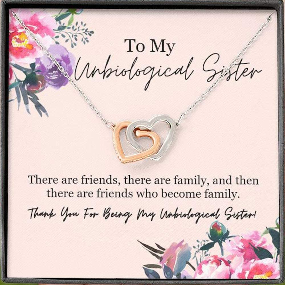 Unbiological Sister Gift,Sister Necklace,Infinity Heart charm Necklace,Friendship Necklace,sister in law gift,sisters necklace with card