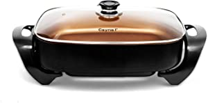 """Caynel Professional Non-stick Copper Electric Skillet Jumbo, Deep Dish with Tempered Glass Vented Lid, Upgrade Thermostat, 16""""x 12""""x 3.15""""- 8 quart, Copper (Copper)"""