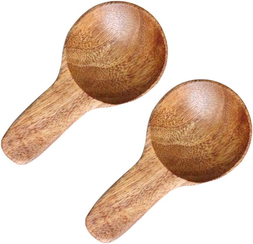 UPKOCH 2 piezas cuchara de leche en polvo accesorios de cocina de madera mango corto mini cucharas cuchara de helado para restaurante de oficina en casa