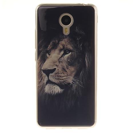 Guran® Silicona Funda Carcasa para Meizu M3 Note Smartphone Bumper TPU case Cover-León
