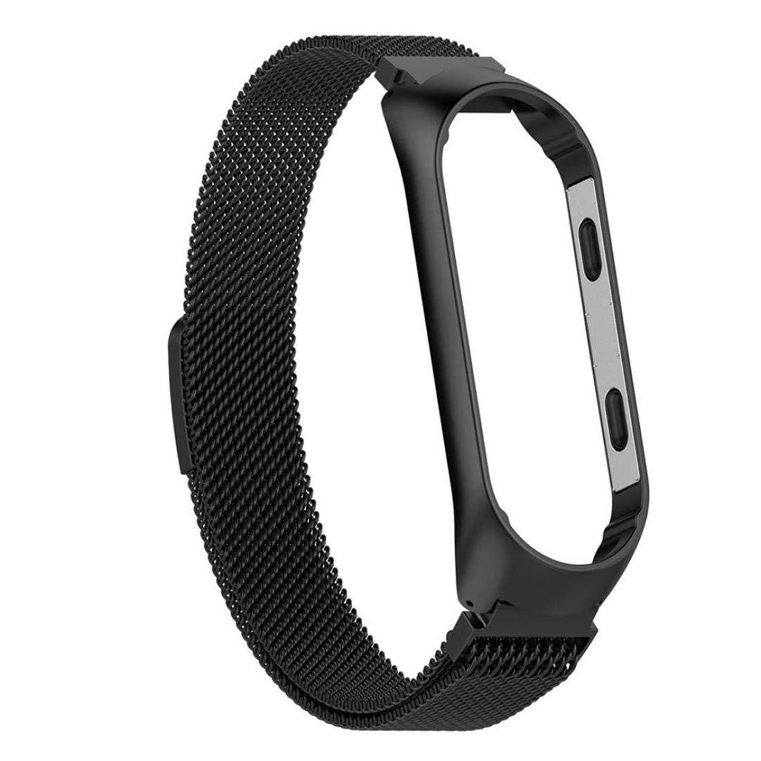Xiaomi Mi Band 3 Armband Onlyct Ersatzband Edelstahl Strap Schlaufenarmband Magnet Uhrenarmband Replacement Metall Armband f/ür Xiaomi Mi Band 3 L, Schwarz