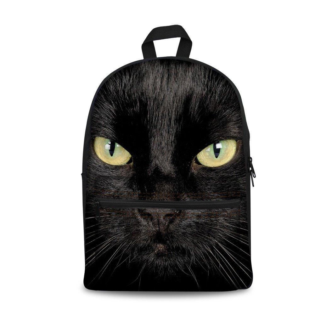 Coloranimalスタイリッシュな3d動物キャンバスバックパック学校用  ブラックキャット B06XRV8SRZ