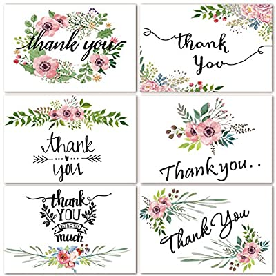 Thank You Cards Floral Flower Greeting Cards - 48 Assorted Bulk Box, 6 Design Blank Inside 4 x 6 inch- Brown Craft Envelopes Included