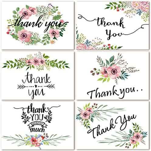 48 Bulk Thank You Cards Floral Flower Thank You Notes for Wedding, Baby Shower, Bridal Shower, Business, Anniversary, 6 Design 4 x 6 inch Blank Thank U Cards with Adhesive Brown Craft Envelopes