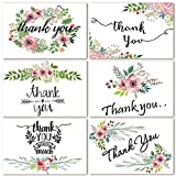 PAPER_PRODUCT  Amazon, модель Thank You Cards Floral Flower Greeting Cards Notes for Wedding, Baby Shower, Bridal, Bussiness, Anniversary- 48 Assorted Bulk Box, 6 Design Blank Inside 4 x 6 inch- Brown Craft Envelopes Included, артикул B075395B2D