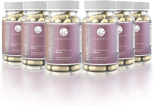 HAIRWORTHY – Crecimiento Natural del Pelo Vitaminas Veganas   Suplemento para Cabello más Largo, Fuerte y espeso   5000mcg Biotina   Multivitamínico para cabello, piel y uñas (suministro para 6 meses): Amazon.es: