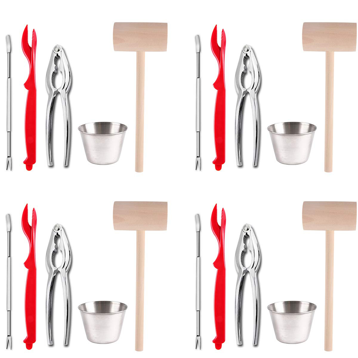 Artcome 22 Piece Seafood Tools Set for 4 People including 4 Lobster Crab Crackers 4 Lobster Shellers 6 Seafood Forks 4 Sauce Cups and 4 Lobster Crab Mallets by Artcome