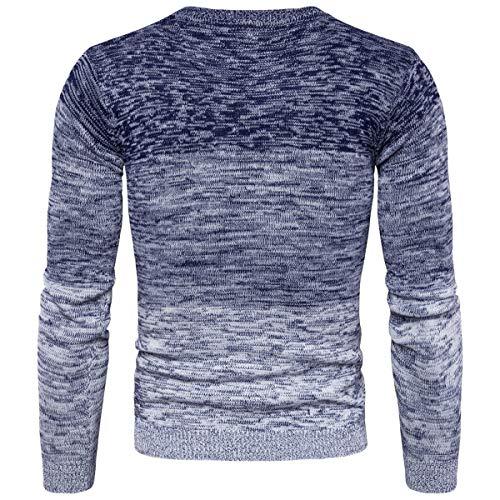Con Uomo Maglieria Da Uomo Sfumato Collo Giacca Rotondo Blu L Men's Mpy Sweaters aCFq44