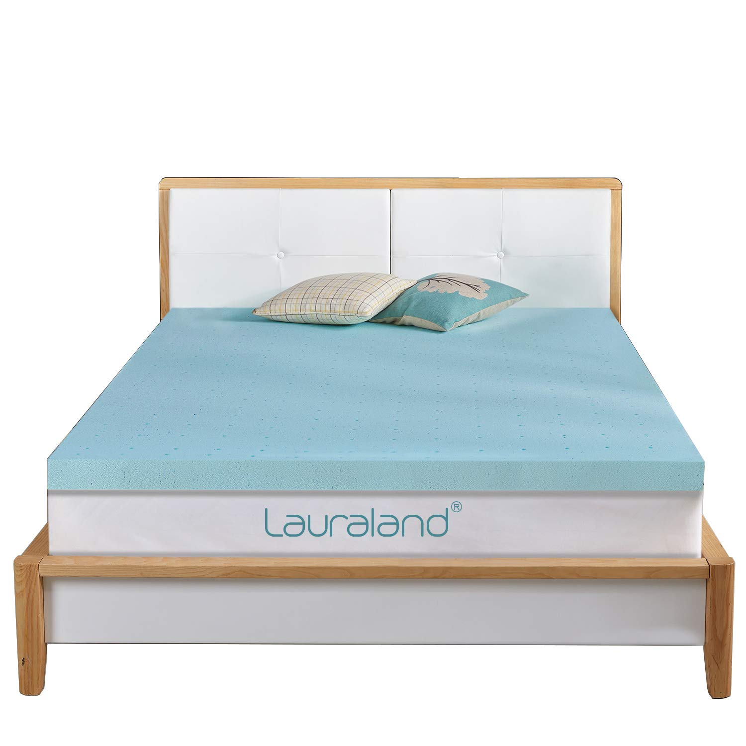 Lauraland Mattress Topper, Gel-Infused Memory Foam Mattress Topper with Cooling Technology, 2 inch (2in Full)