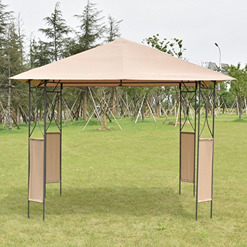 10u0027x10u2032 Square Gazebo Canopy Tent Shelter Awning Garden Patio W/Brown Cover