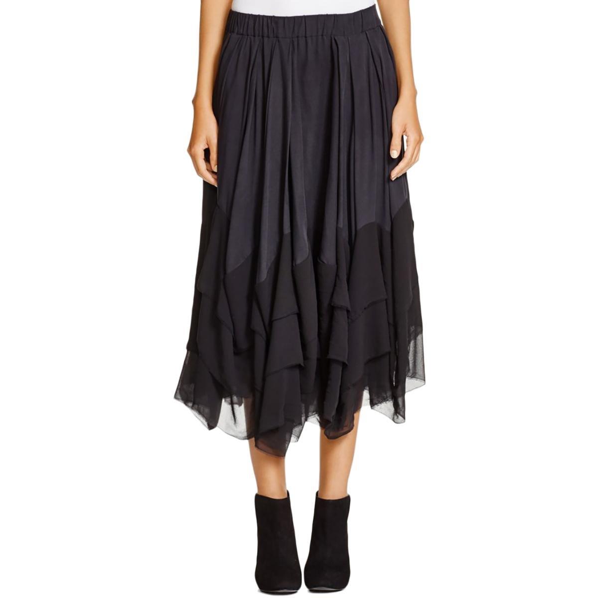 Pure DKNY Womens Petites Silk Blend Pleated Tiered Skirt Black M