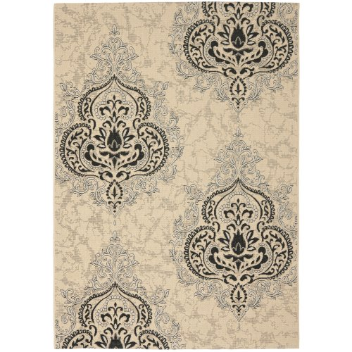 Safavieh Courtyard Collection CY7926-16A22 Cream and Black Indoor/ Outdoor Area Rug (8' x 11')