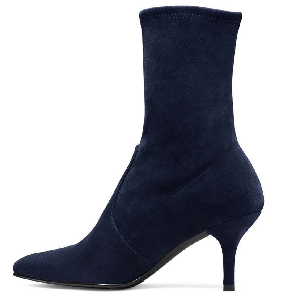 Sock Boots for Women,Women's Slip On Pointed Toe Mid Calf Boots Stretchy Suede Kitten Heel Booties B078RKVFDS 7.5 B(M) US|Navy Suede-6.5cm